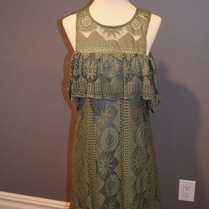 Green Cold Shoulder Short Dress